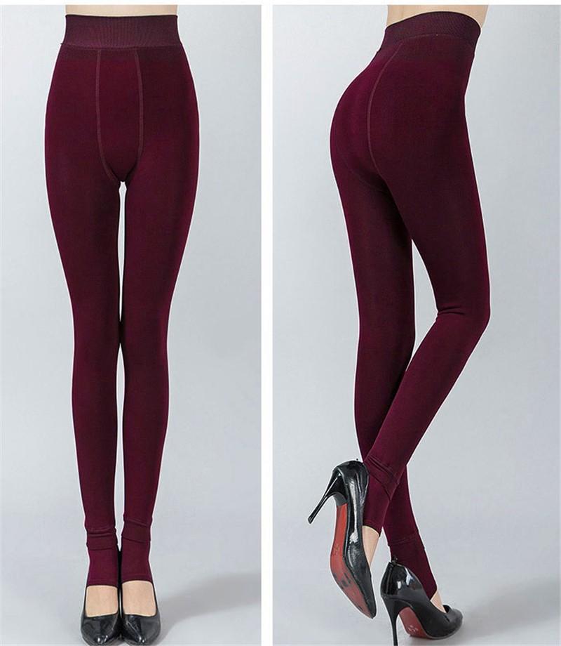 NORMOV Women's Winter Plus Cashmere Leggings Fashion Big Size Warm Super Elastic Faux Velvet Winter Thick Slim Leggings 12