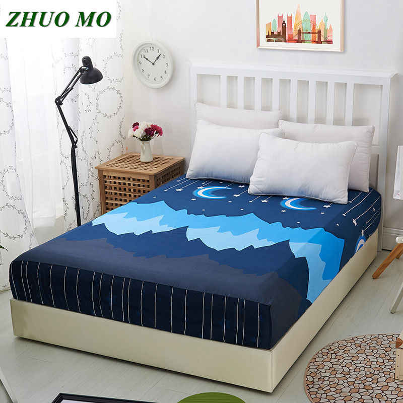 1pc Flowers pattern Printed Bedding Bed Sheets With Elastic 100% Polyester Fitted Sheets Mattress Cover Band Bedspread Bedsheet