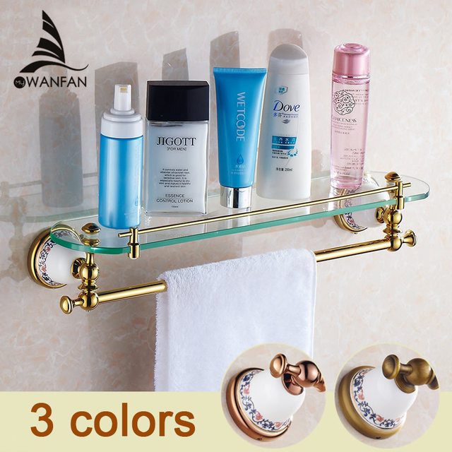 Luxury Bathroom Shelf Antique Brass Ceramic Glass Shelf With Towel Bar  European Style Home Decoration Bath