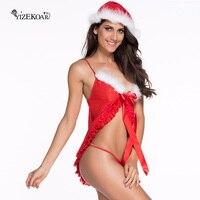 Nowy Boże Narodzenie Kostium Sexy Kobiety Red 3 sztuk Krótki Babydoll Otwarta Przednia Mrs. Claus Kostium Deguisement Christamas Cosplay LC7272