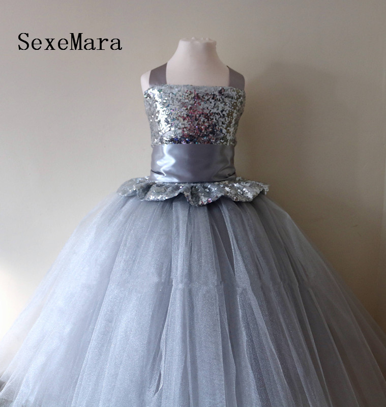 2019 Flower Girl Dress Silver Sequins Puffy Tulle Ball Gown Little Princess Birthday Party Dress Christmas Gown Bow Custom Made