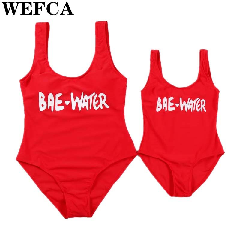 Family Look Swimwear Mommy Daughter Letter Swimsuit Mom Me Red Bikini Bathing Suit Mother Kids Casual One Piece Family Clothing