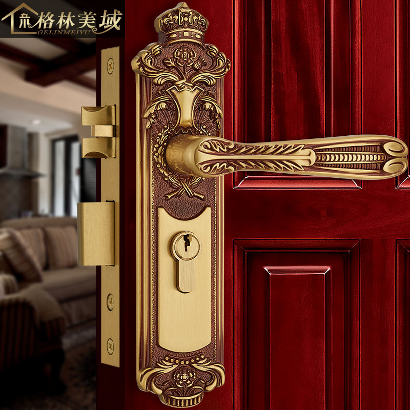 European lock pure copper antique interior wooden door lock full copper door lock villa bedroom door lock european lock pure copper antique interior wooden door lock full copper door lock villa bedroom door lock