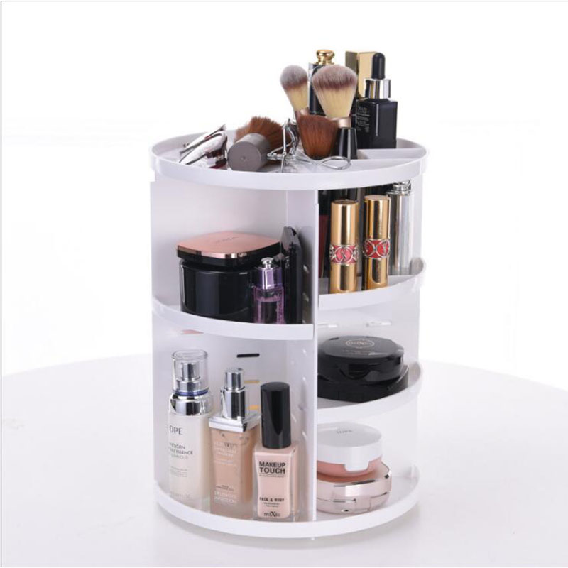Comwarm Plastic Polygon Cosmetic Organizer Rotating Makeup Jewelry Storage Box Folding Divider Container For Desktop Sundries