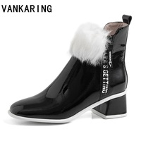 women ankle boots leather fur shoes woman snow boots plus size platform high heels autumn female warm botas mujer white booties