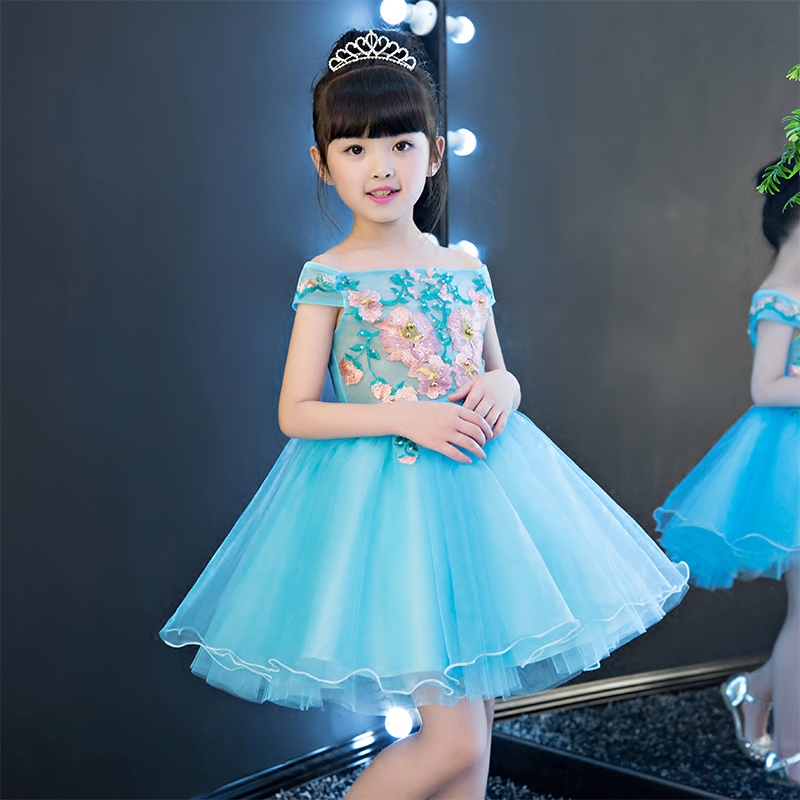 2017 New Girls Evening Ball Gown Flower Wedding Princess Lace Dress Children Kids Birthday Dresses Girl Clothes Tutu Party Dress new year formal gown princess summer 2017 new party dress girl children clothing prom wedding kids clothes girls tutu dresses