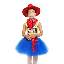 Casual Cartoon Character Sherif Woody Cosplay Tutu Dress for Girls Kids Fluffy Knee Length Movie Cowboy Costumes with Hat