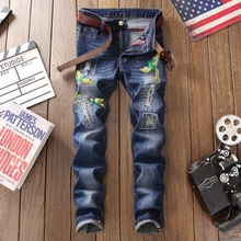 2019 Gothic jeans men 3d embroidery fashion brand design straight blue jeans male denim trousers plus size 29-38 homme trousers