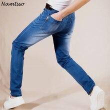 הקיץ החדש כותנה למתוח מכנסיים ג ינס לנשימה ונוח קל משקל של גברים מזדמנים אופנה סיטונאי