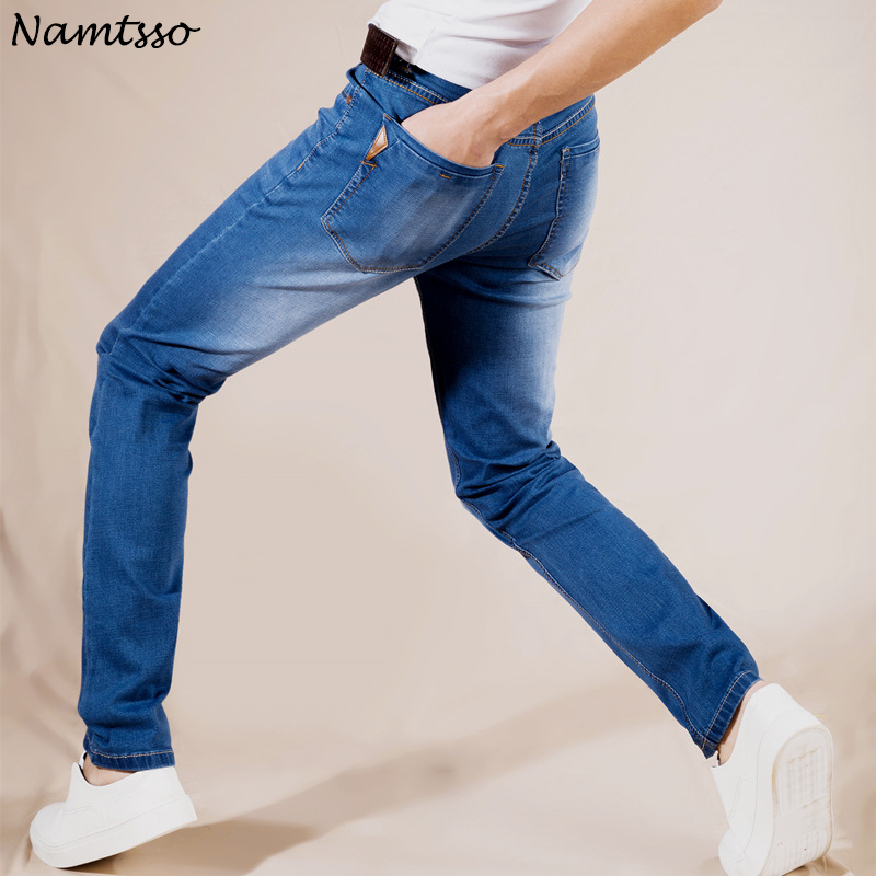 Summer New Stretch Cotton Breathable And Comfortable Jeans Fashion Casual Men's Lightweight Trousers Wholesale