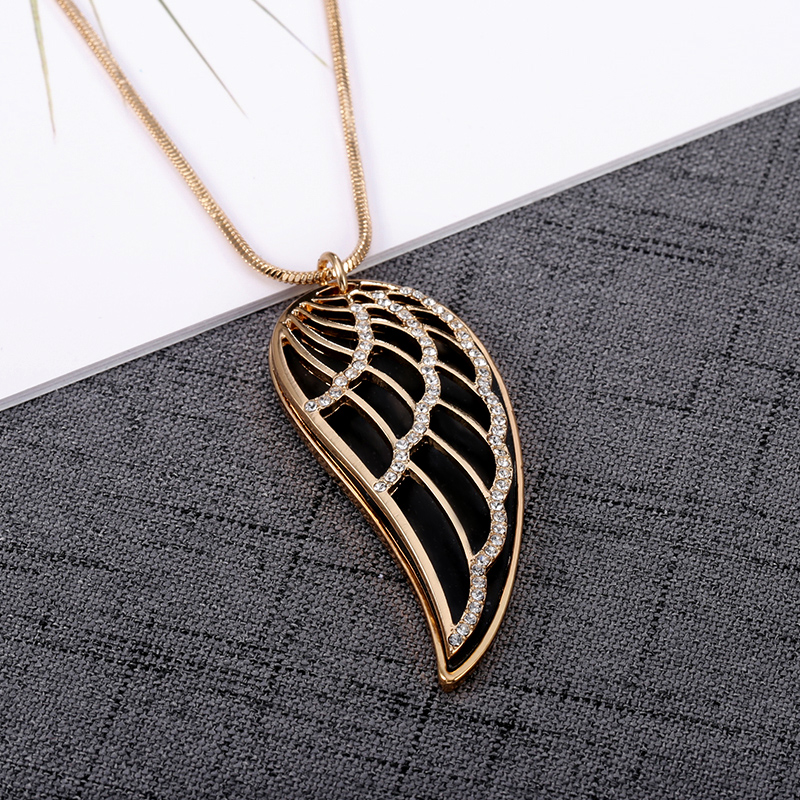 New 2018 Crystal Luxury Feather Angel wings Long Necklaces Pendants Rose Gold Fashion Collier Jewelry for women Dropshipping 20