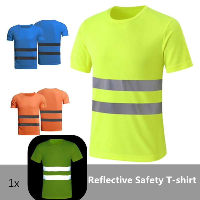 1pc Quick Dry Night Safety Work Shirt Summer Reflective T Shirt For Night Work Safety Clothing Breathable Work Clothes Workwear