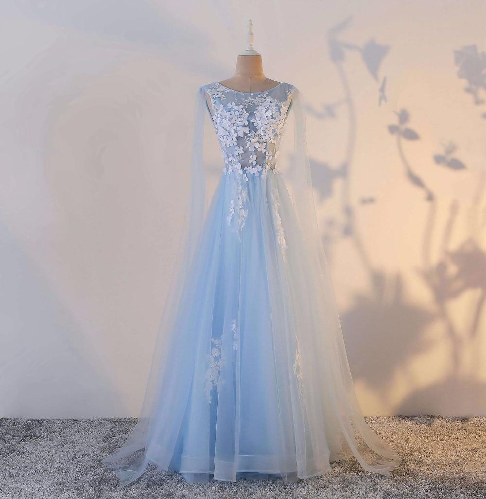 Vestidos De Festa Baby Blue Elegant Sheer Neck Beading Flowers Appliques Lace A-Line Long   Bridesmaid     Dresses   Prom Party Gown