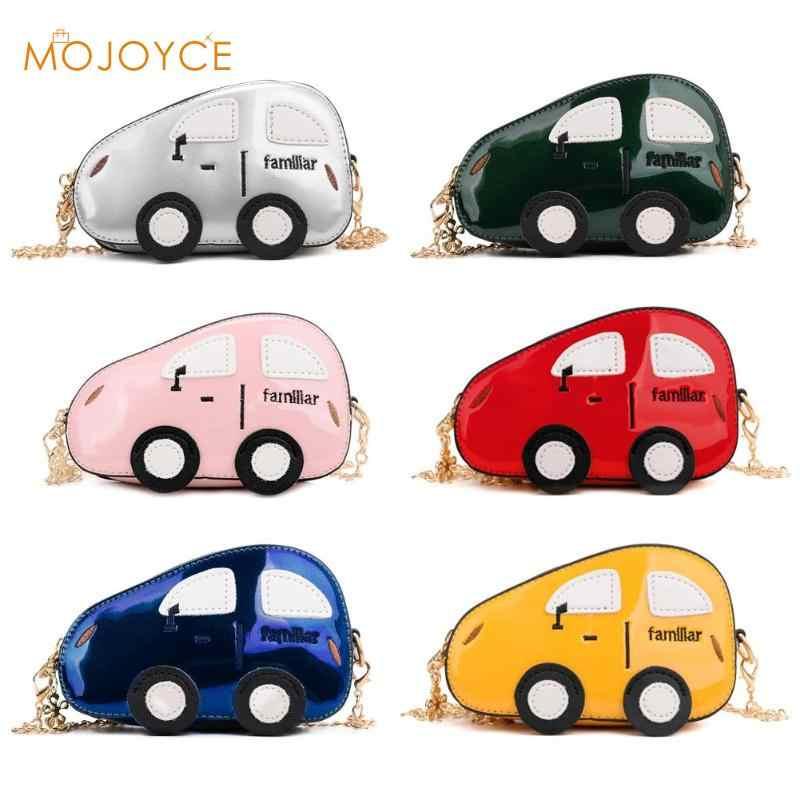 Милые сумки на плечо в форме машины, детская кожаная сумка на цепочке для девочек и мальчиков, вечерняя сумочка-клатч