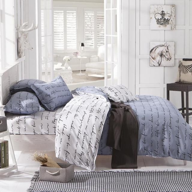 New Arrival Gray Love Letter Bedding Printed Bedclothes Soft Home Sheet Set Twin Full Queen