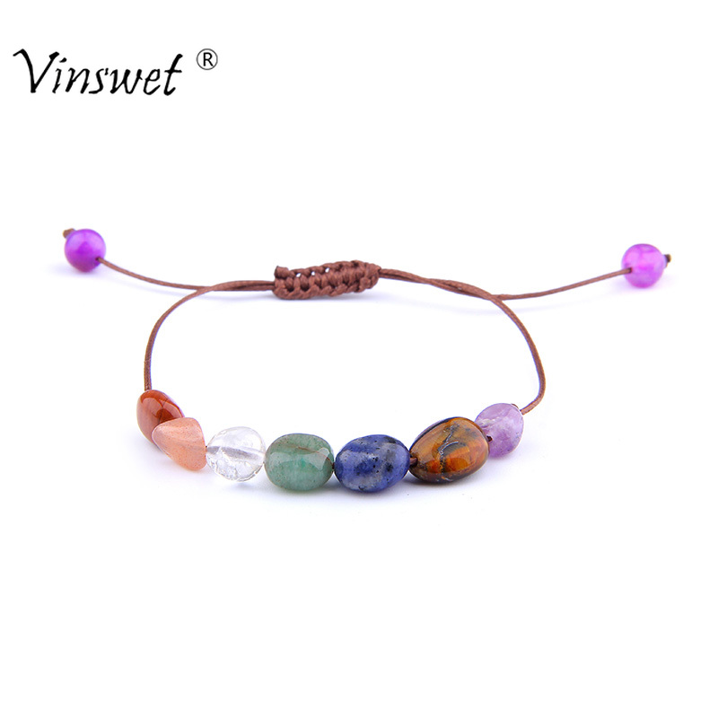 Hot Multicolor Natural Stone Chakra Bracelet Men Fashion Weave Rope Bracelet for Women Lucky Charm Jewelry Christmas Gifts