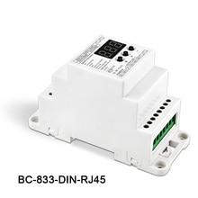 BC-833-DIN-RJ45 DC12-24V input 8A*3CH output,DIN Rail 3CH Constant voltage DMX512/1990 Decoder controller for led strip,lamp