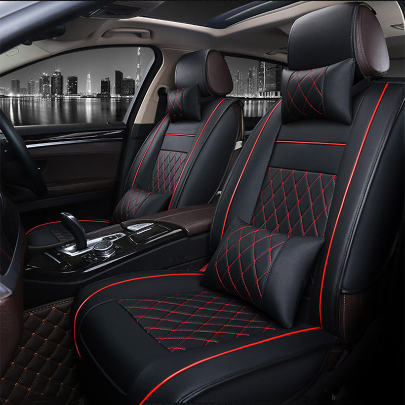 Universal PU Leather car seat covers For Cadillac SLS ATSL CTS XTS SRX CT6 ATS Escalade auto accessories car styling sticker custom fit car trunk mat for cadillac ats cts xts srx sls escalade 3d car styling all weather tray carpet cargo liner waterproof