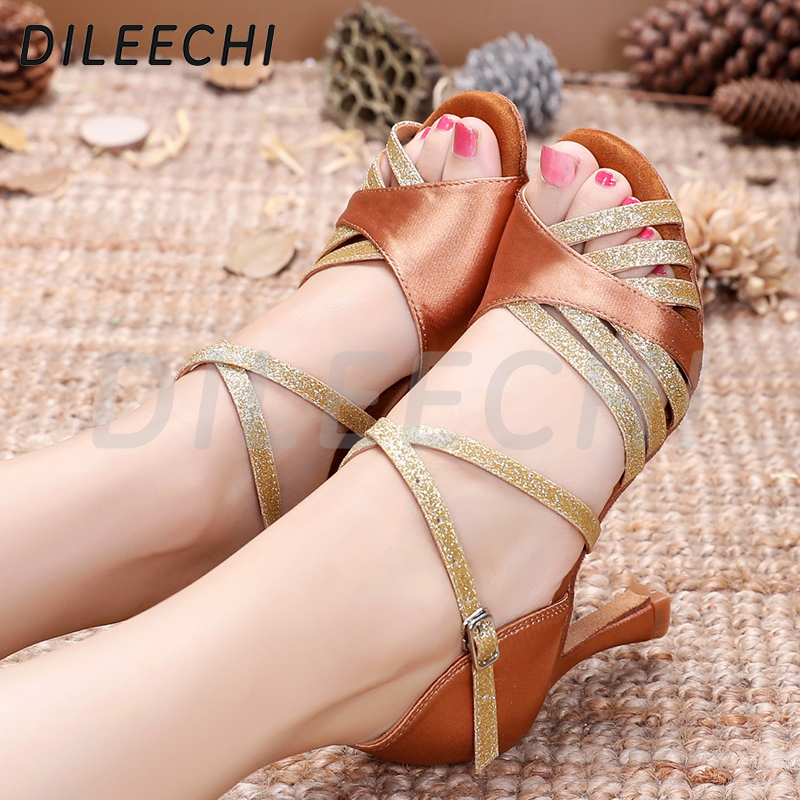 Image 4 - DILEECHI Latin Dance Shoes Women Silk Satin New Bronze Salsa Party Ballroom Dance Shoes heel 9cm Seamless back ladies sneaker-in Dance shoes from Sports & Entertainment