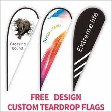 CUSTOMพิมพ์Teardropธงชายหาดธงแบนเนอร์กราฟิกเปลี่ยนฉลองโปรโมชั่นโฆษณากลางแจ้งตกแต่ง