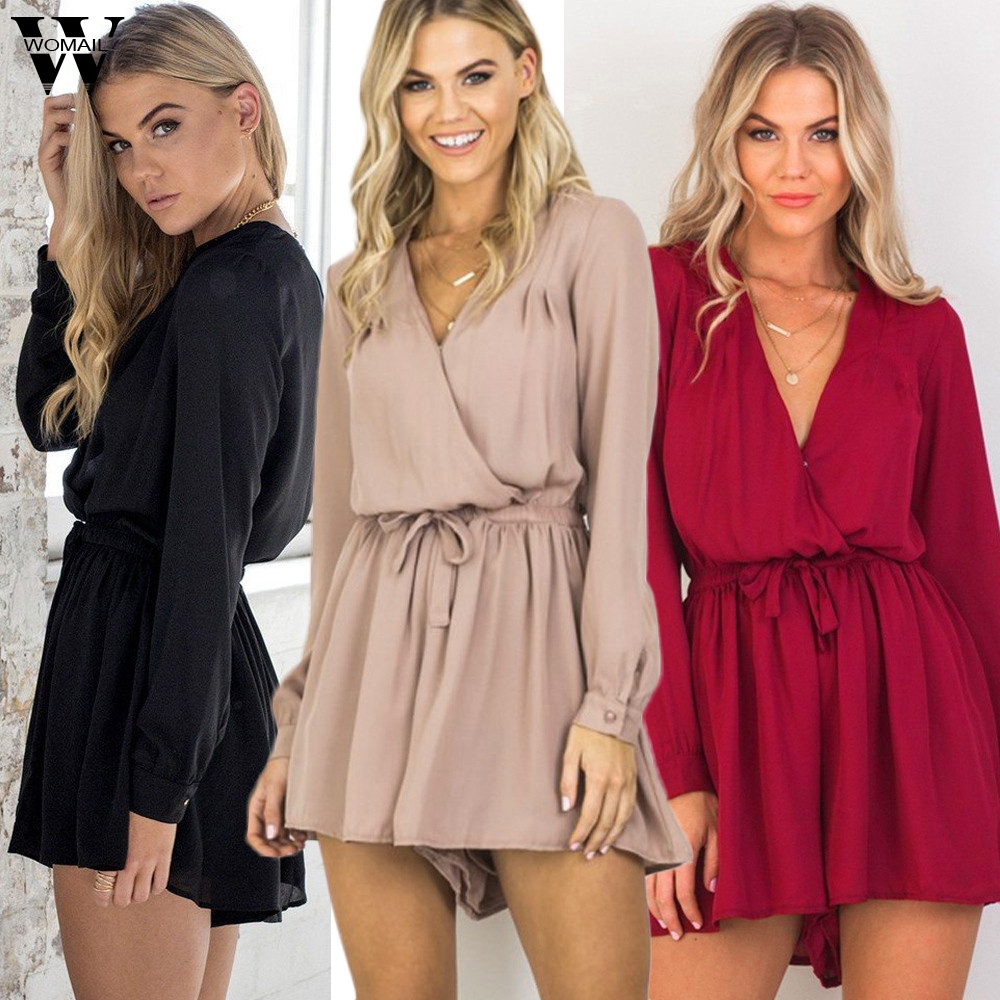Womail bodysuit Women Summer Holiday Sexy V-neck Long Sleeve Chiffon Playsuit Ladies Jumpsuit overalls new 2019 M4