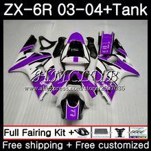 Майка для KAWASAKI NINJA ZX600 фиолетовый белый ZX636 ZX-6R 2003 2004 56HC. 11 ZX 636 6 R 600CC ZX-636 ZX6R 03 04 ZX 6R 03 04 обтекатель