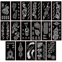 6pcs Henna Tattoo Stencil For Glitter Tattoo Temporary Black Mehndi Indian Template Tattoo Stencils For Painting Henna Kit