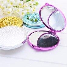 1 unidad espejos compactos portátiles para niñas espejo de maquillaje hueco doblado de doble cara espejo de mano Vintage espejo de bolsillo Mini WA680 J11