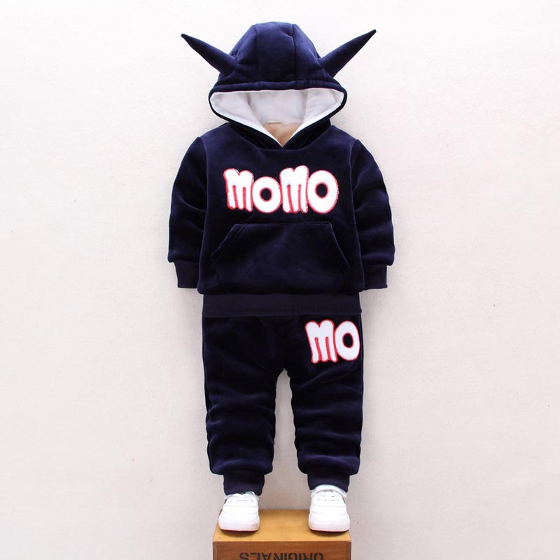2018 Winter Baby Boy Girl Clothes Sets Long Sleeve Double Thick Sweater Pants 2pcs Infant Outfit Children Coat Costume hsp198 baby down jacket clothes sets girl outwear thick pants costume suit infant boy soft cotton clothing set winter warm coat garment