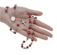 MCSAYS Mens Jewelry Necklace Hip Hop St Steel Red Rosaries Chain The Cross Of Jesus Pendant