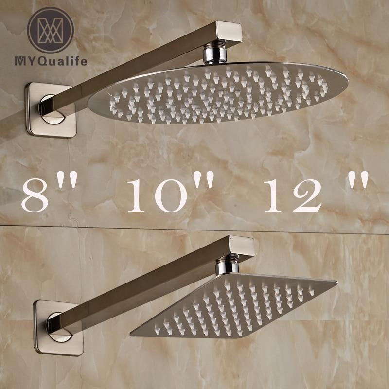 Brushed Nickel Rainfall 8/10/12 Bathroom Shower Head Stainless Steel Rain Shower Faucet Replace Head