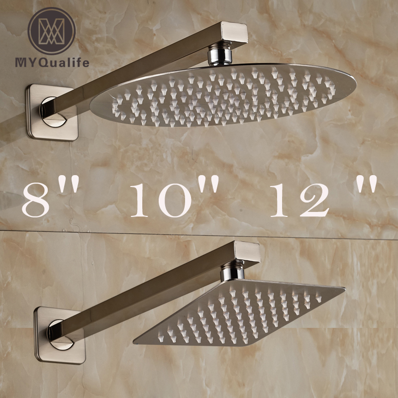 Brushed Nickel Rainfall 8/10/12 Bathroom Shower Head Stainless Steel Rain Shower Faucet Replace Head