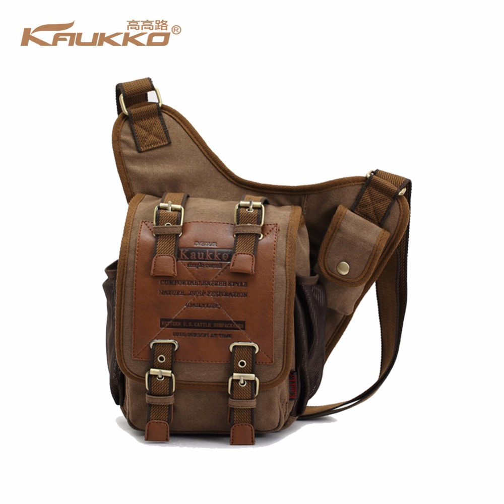 Canvas Leather Shoulder Bags Men's Military Patchwork Bag Shoulder Bag Handbag Cross-Body Messenger ShoulderBag