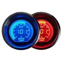 2 52mm EVO Blue Red Water Temp Temperautre Car Digital LED Gauge Meter Tint Len