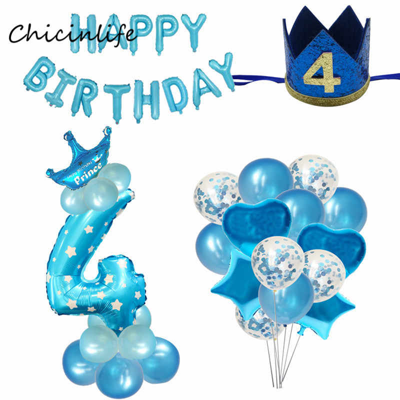 Chicinlife Boy Girl 4th Happy Birhday Decoration Number 4 Balloon Birthday Crown Hat Year Old Party Supplies