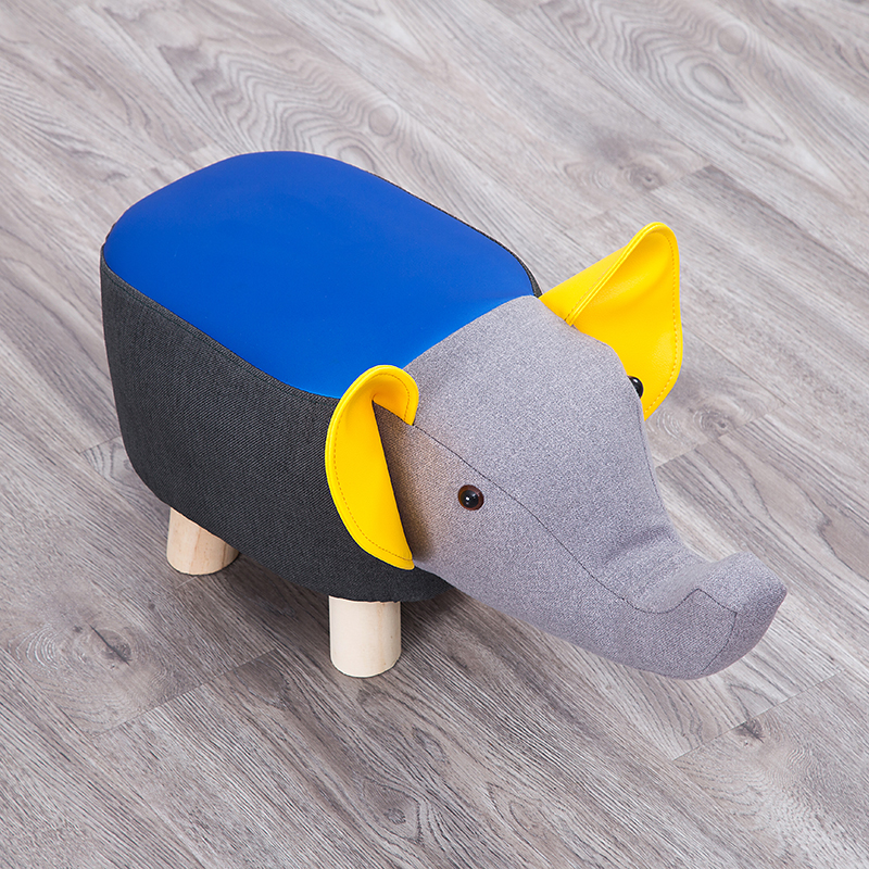 Modern Animal Stool Series Upholstered Ride-on Ottoman Footrest Stool With Vivid Adorable Animal-Like Features Elephant Cow Pig