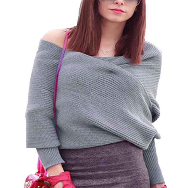 Mujeres Suéter de Invierno Cruzado de La Manera Hizo Punto el Poncho Capas Femme Hombro Suéter de Punto Jumper Pullover Blusas