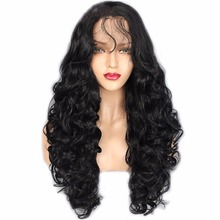 DLME Free Part Synthetic Lace Front Wig With Baby Hair Wave Wigs For Black Women Heat Resistant Long Black Wig Handmade