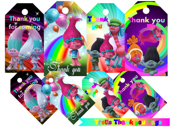 Trolls Favor Tags Thank You Gift Favors Birthday Party Decorations Kids Supplies Baby Shower