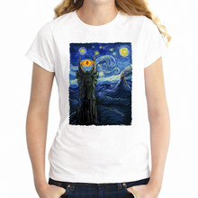 New Women's T-shirt Lord of The Ring The Starry Night Van Goah Crossover Geek Shirt Girl's tshirt Harajuku Streetwear tees tops(China)