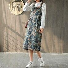 Johnature 2020 Straigth Neue Baumwolle Taschen Taste Mode Denim Kleid Drucken knie länge Casual Frühling Sommer Denim Kleid