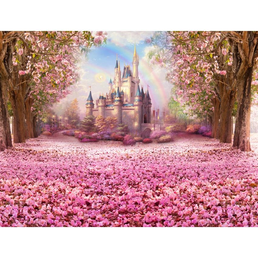 Seamless Fairy Tale Vinyl Photography Background Flower castle newborn children birthday party Backdrops for Photo Studio S-2711