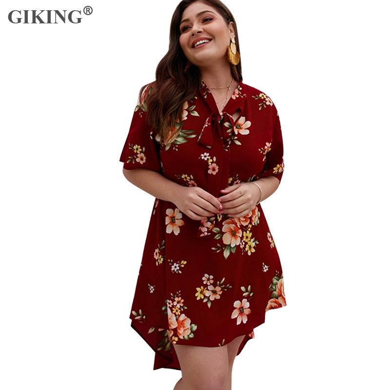GIKING Plus Size Floral Print Summer Dress For Women Irregular Short Sleeve Boho Style Womens Holiday Beach Vestido 2019