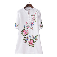 New arrival vintage summer dress women dresses plus size floral embroidery dress vestidos verano 2018 women clothing 4xl 5xl