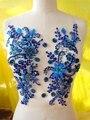 Бесплатная доставка 32*25 см ручной работы кристалл патчи пришить синий стразы аппликация для платья аксессуары