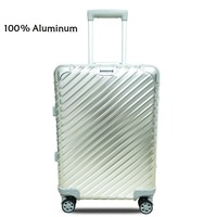 20 24 inch twill 100% Aluminium TSA lock rolling luggage spinner metallic suitcase trolley bags