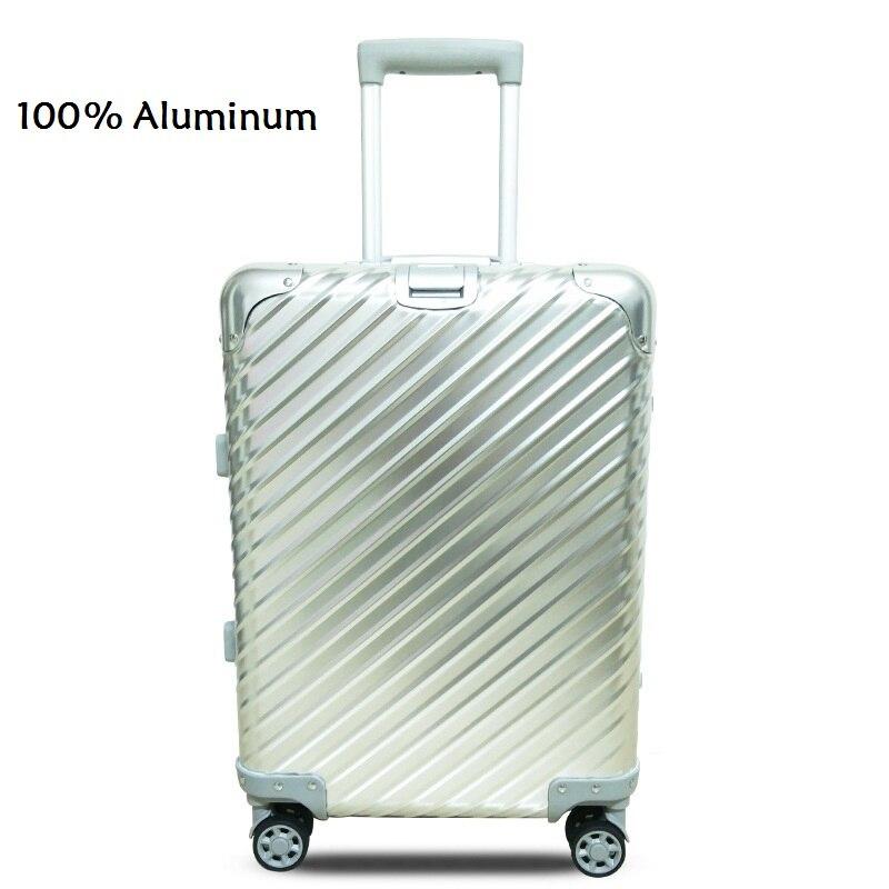 Obligatorisch 20 24 Zoll Twill 100% Aluminium Tsa-schloss Rollgepäck Spinner Metallic Koffer Trolley Taschen