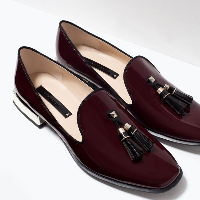 e7b7ed12ab5bc 2015 Women's Fashion Vintage Burgundy Block Heels Tassel Loafers Closed Toe  Patent Leather Flats Heels Stylish Casual Shoes