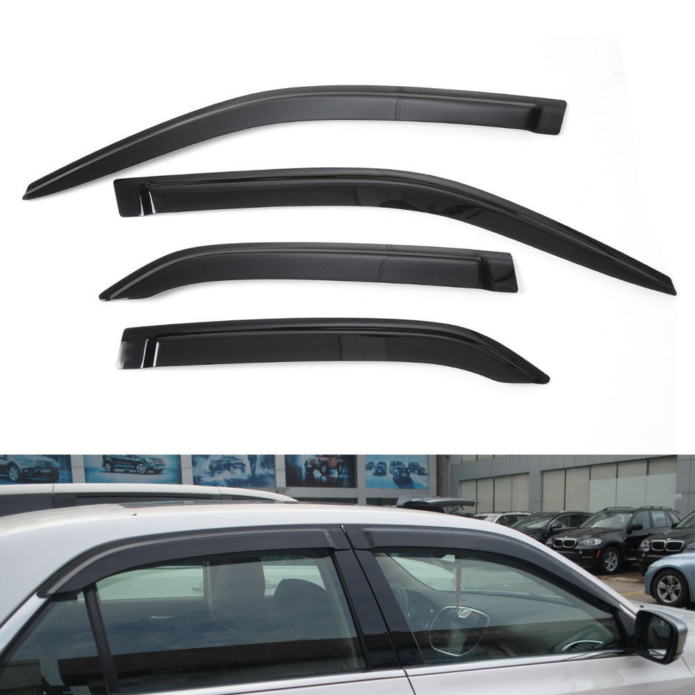 4 pcs new car out channel window rain guard wind deflector visors strip decoration for