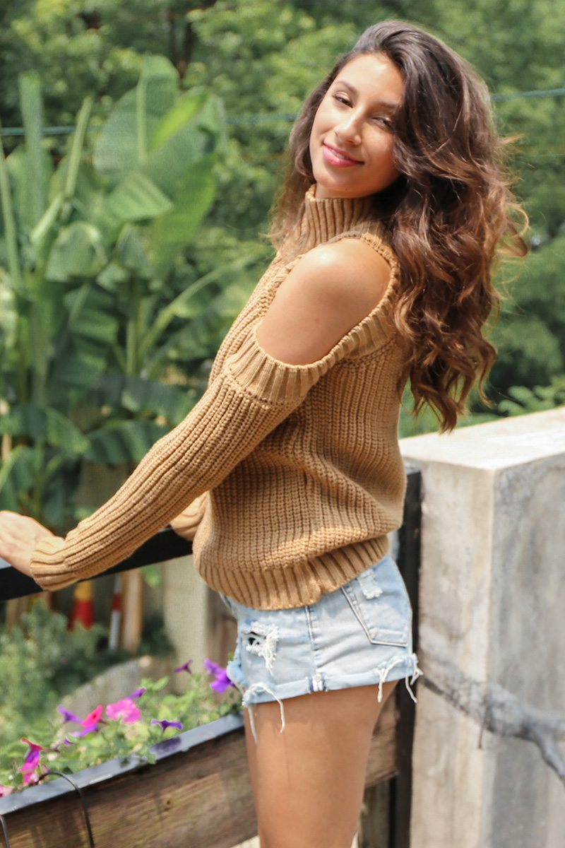 Simplee Turtleneck off shoulder knitted pullovers Sexy tricot cut sleeve sweater women Winter casual oversized jumper 6